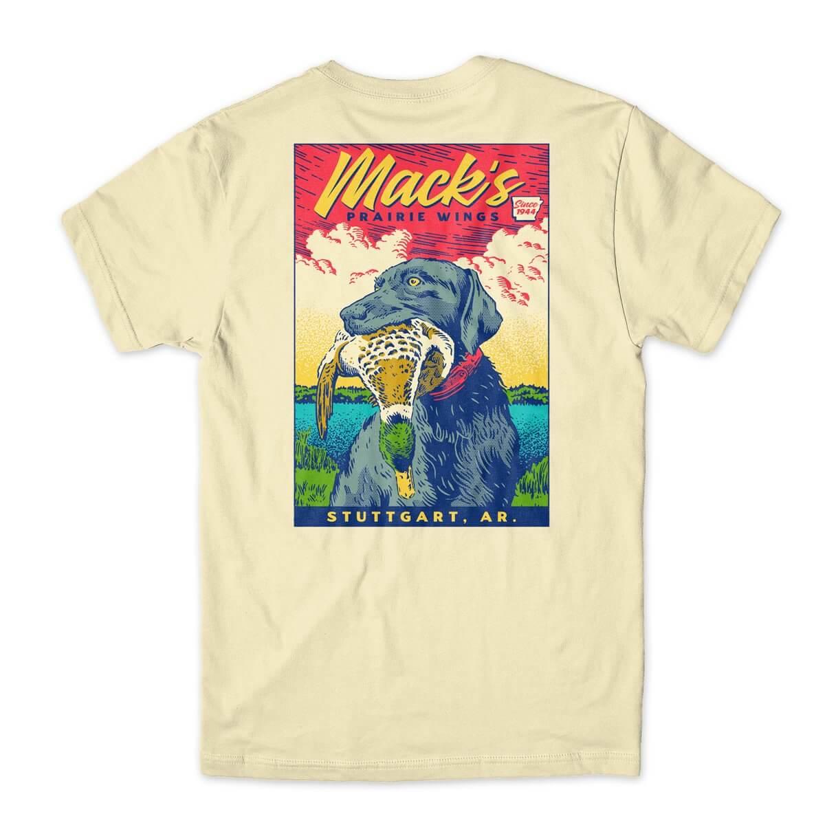 Mack's Prairie Wings - Dog Stamp yellow tshirt