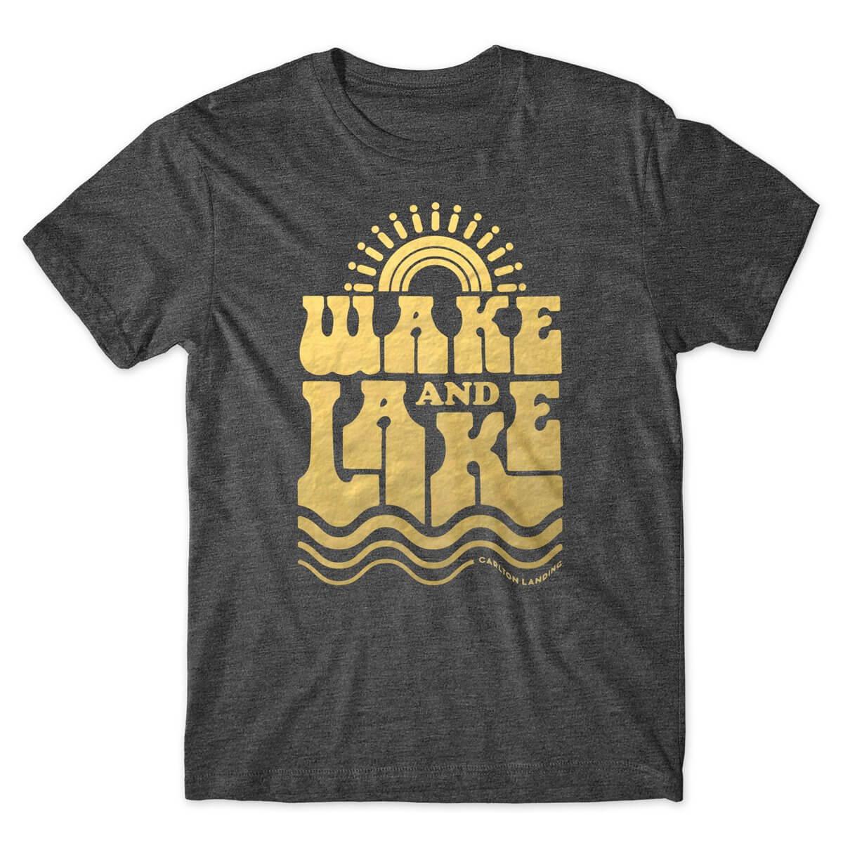 Carlton Landing Wake and Lake charcoal heather tshirt